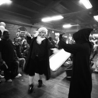 """The """"casket"""" dancer from Gaskin's exhibit."""