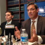Former Kappa Delta Rho member James Vivenzio and his lawyer Aaron Freiwald.