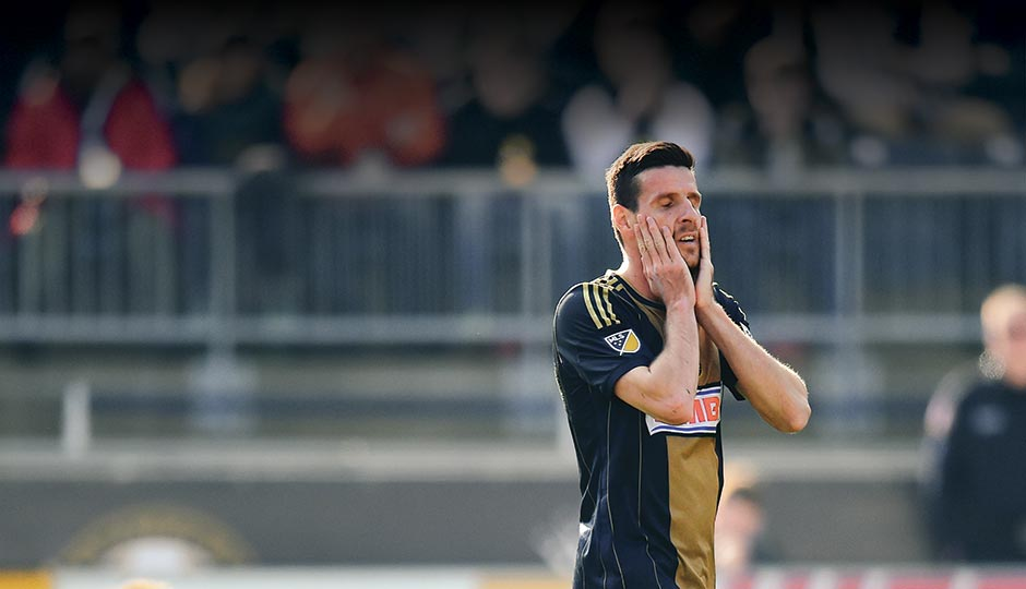 Sébastien Le Toux after a missed goal earlier this year. Photo by Drew Hallowell/Getty