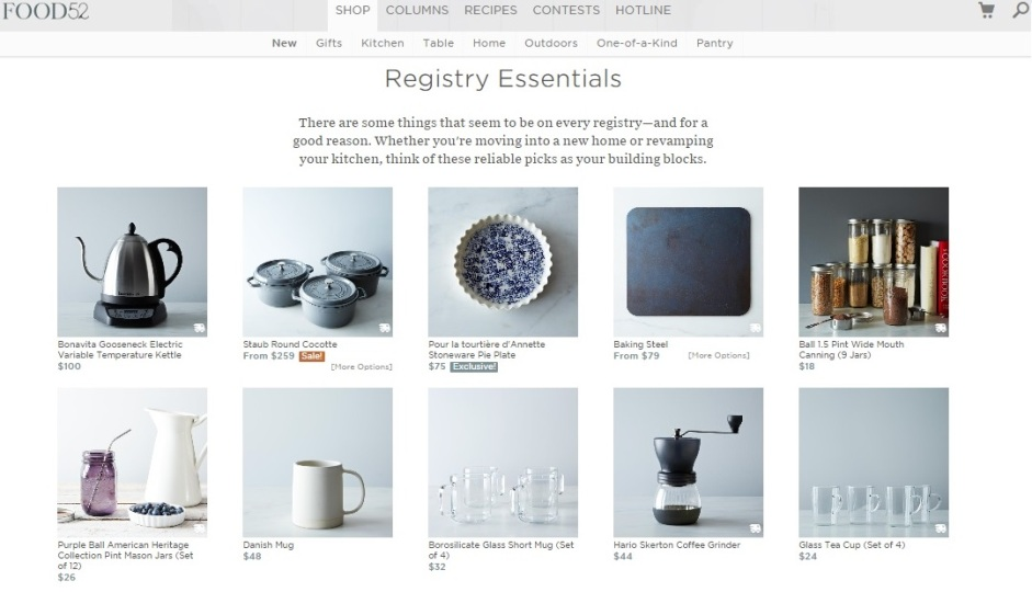 Here's a look at Food52's new registry.