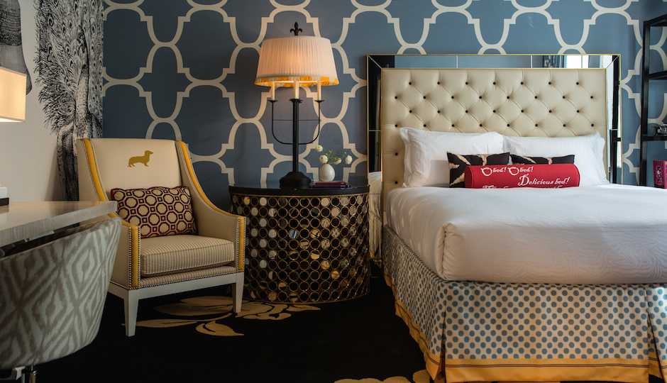 You can spend the night in this pretty suite at Hotel Palomar.