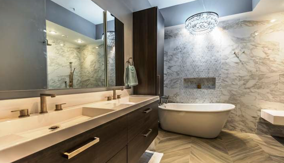 That bathroom, though.   Images by TREND via Redfin/Coldwell Banker, Old City