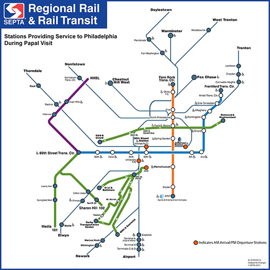SEPTA pope service map updated as of Sept. 10.