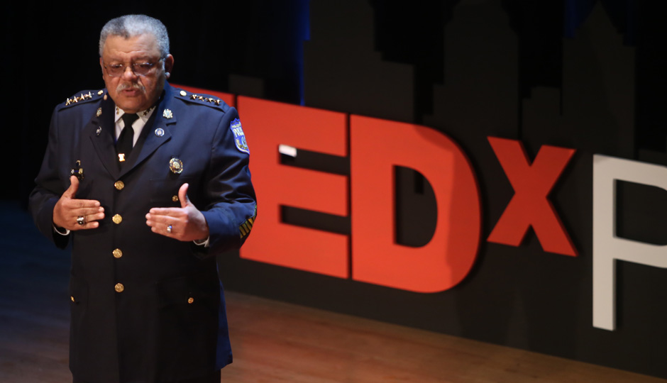 Police Commissioner Charles Ramsey speaking at the TEDx conference in Philadelphia. (Meredith Edlow)