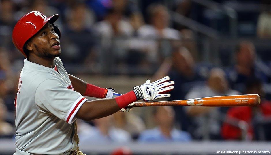 Philadelphia Phillies third baseman Maikel Franco watches his three-run home run against the New York Yankees during the fourth inning of an inter-league baseball game at Yankee Stadium on June 23, 2015.