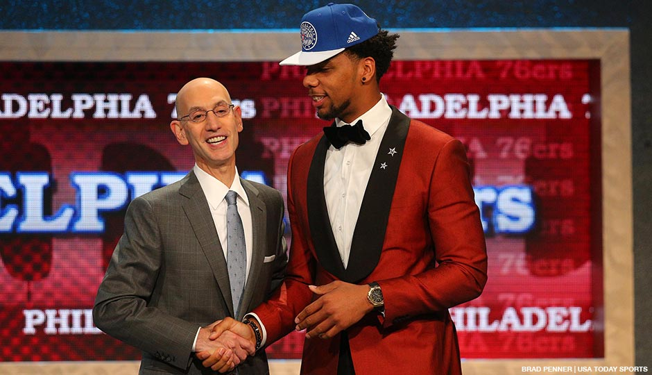 Jahlil Okafor (Duke) greets NBA commissioner Adam Silver after being selected as the number three overall pick in the first round of the 2015 NBA Draft at Barclays Center.