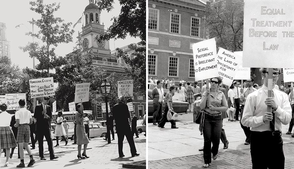 Left: The first Annual Reminder in 1965 (photo: LGBT50.org). Right: Marchers in 1969 (photo: Nancy Tucker/Lesbian History Archives).