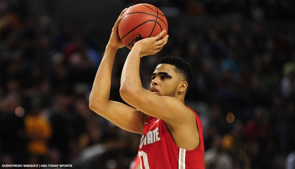 Ohio State Buckeyes guard D'Angelo Russell (0) shoots flagrant 1 foul shots against the Virginia Commonwealth Rams during the second half in the second round of the 2015 NCAA Tournament at Moda Center on March 19, 2015.