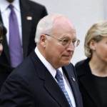 Vice-President Dick Cheney is joined by his openly gay daughter Mary, at right, and her partner of 15 years, Heather Poe, left, as they attend church services in Washington, Monday, September 11, 2006. (AP Photo/J. Scott Applewhite)
