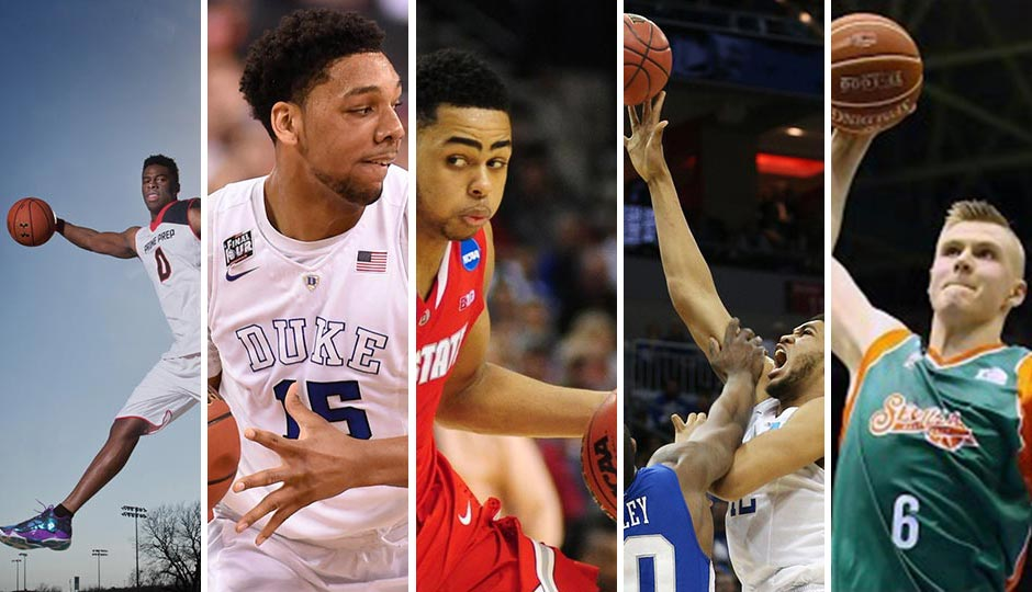 From left: Emanuel Mudiay, Jahlil Okafor, D'Angelo Russell, Karl-Anthony Towns (all USA Today Sports) and Kristaps Porzingis (Twitter)