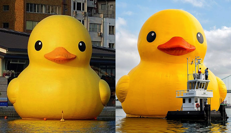 "A duck is a duck is a duck? Left: ""Authorized"" giant rubber duck, courtesy Florentijn Hofman. Right: ""Unauthorized"" giant rubber duck, courtesy Tall Ships Philadelphia."