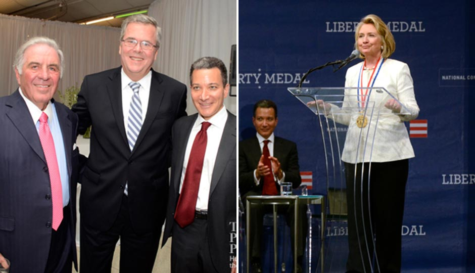 Jeb Bush (center, at left) and Hillary Clinton at Clinton's Liberty Medal ceremony. | HughE Dillon