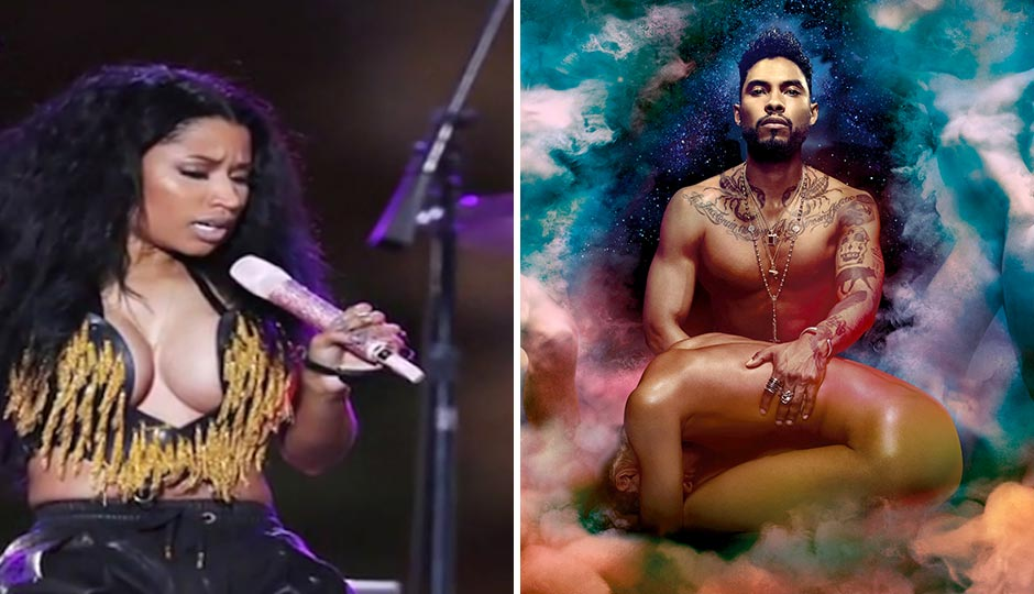 Nicki Minaj, left, cursing her way through last year's 4th of July Jam, and Miguel, the guy the city has chosen to entertain your family this year, as seen on his new album cover.