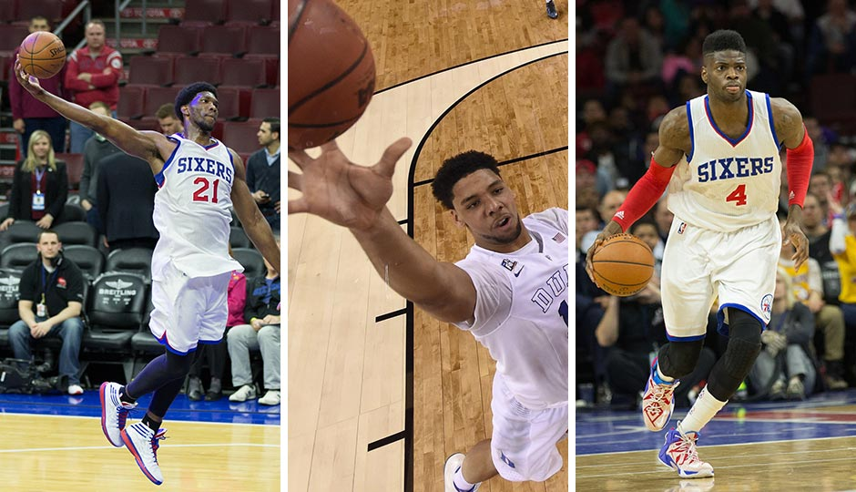 Joel Embiid (left) and Nerlens Noel (right) | Bill Streicher, USA Today Sports. Jahlil Okafor (center), Chris Steppig, NCAA Pool, USA Today Sports