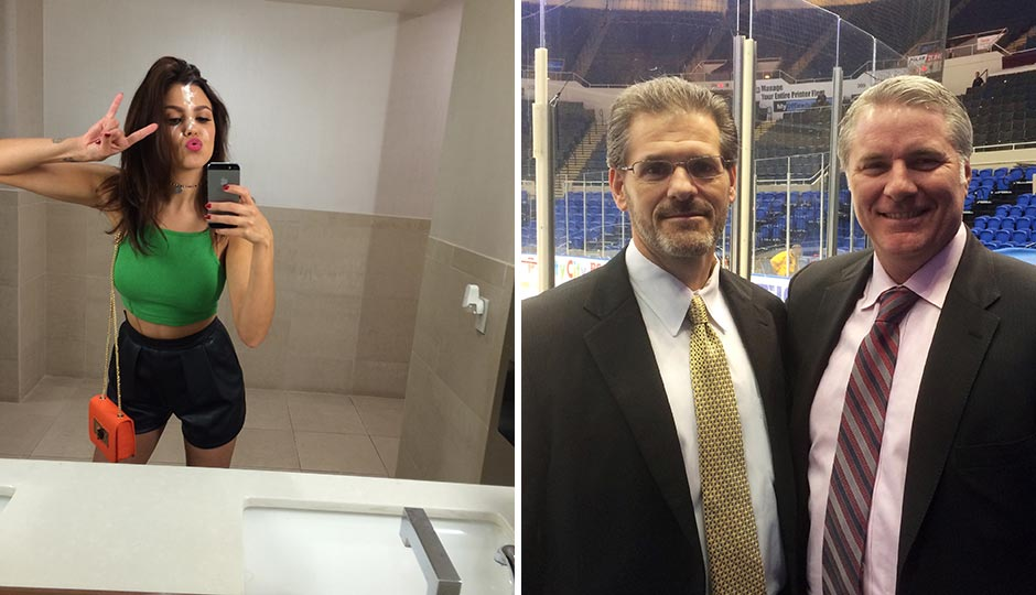 Left: Playboy Playmate Val Keil. Flyers general manager Ron Hextall and New York Islanders GM Garth Snow.