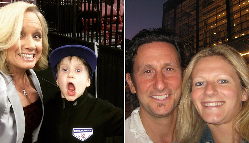 Left: Comcast SportsNet's Dei Lynam with son Beau. Right: Rich Landau and Kate Jacoby, Vedge/V Street.