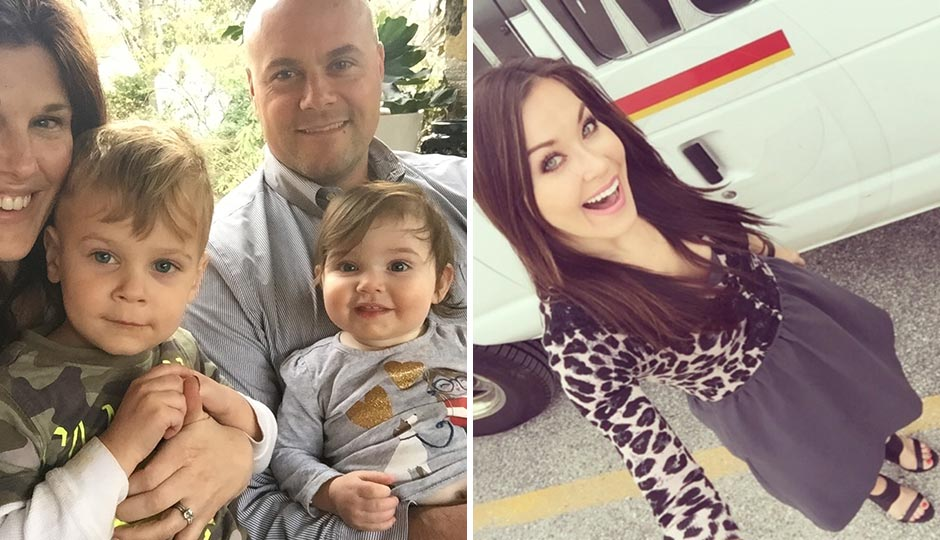 Left: Beka and Jesse Rendell with children Dean and Rosalind. Right: 6ABC's Eva Pilgrim.