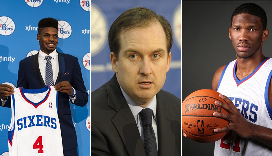 Nerlens Noel (Howard Smith), Sam Hinkie (Eric Hartline) and Joel Embiid (Bill Streicher) | USA Today Sports