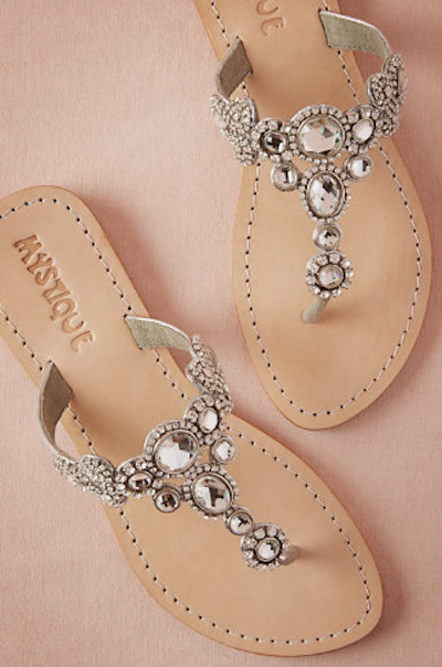 Photos 10 flat bridal sandals thatll convince you to leave your these bhldn sandals are part of their new honeymoon collection junglespirit Image collections