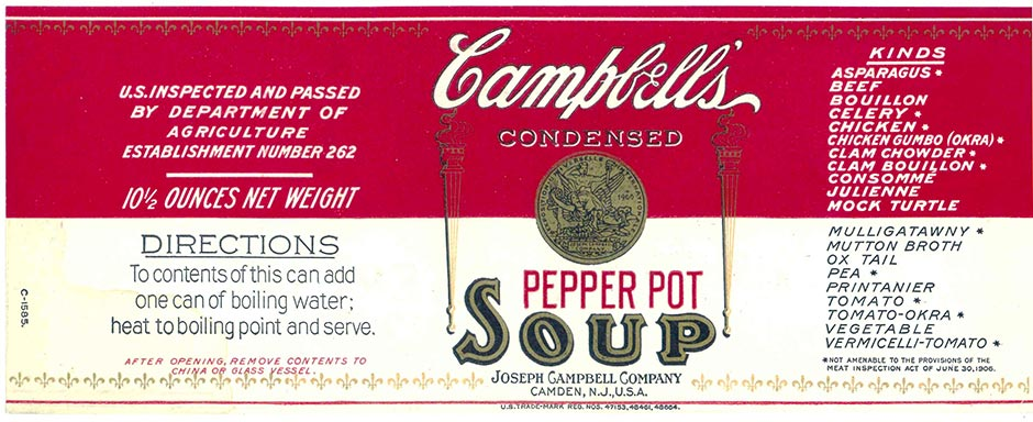 Circa 1914 Pepper Pot Soup label courtesy of Campbell's