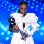 Little league player Mo'ne Davis accepts the award for best breakthrough athlete at the ESPY Awards at the Microsoft Theater on Wednesday, July 15, 2015, in Los Angeles.