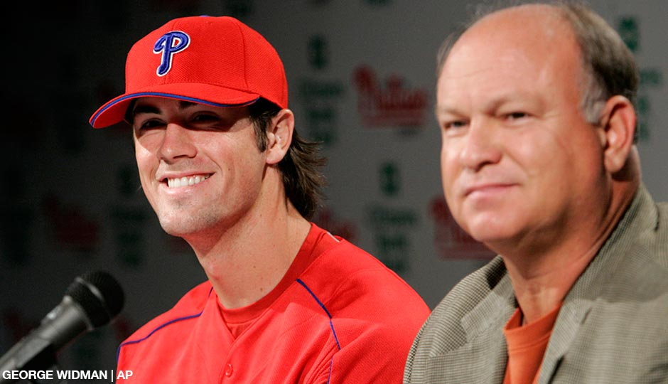 Cole Hamels, left, answers questions alongside Mike Arbuckle, then the Phillies' assistant general manager for scouting and player development, during a news conference Wednesday, May 10, 2006, in Philadelphia. Hamels was about to be called up and would make his Major League debut two days later.