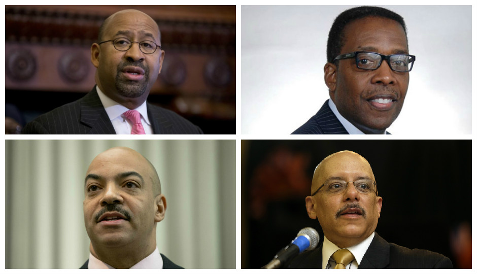Clockwise from the top: Mayor Michael Nutter, Council President Darrell Clarke, District Attorney Seth Williams and state Sen. Vincent Hughes.