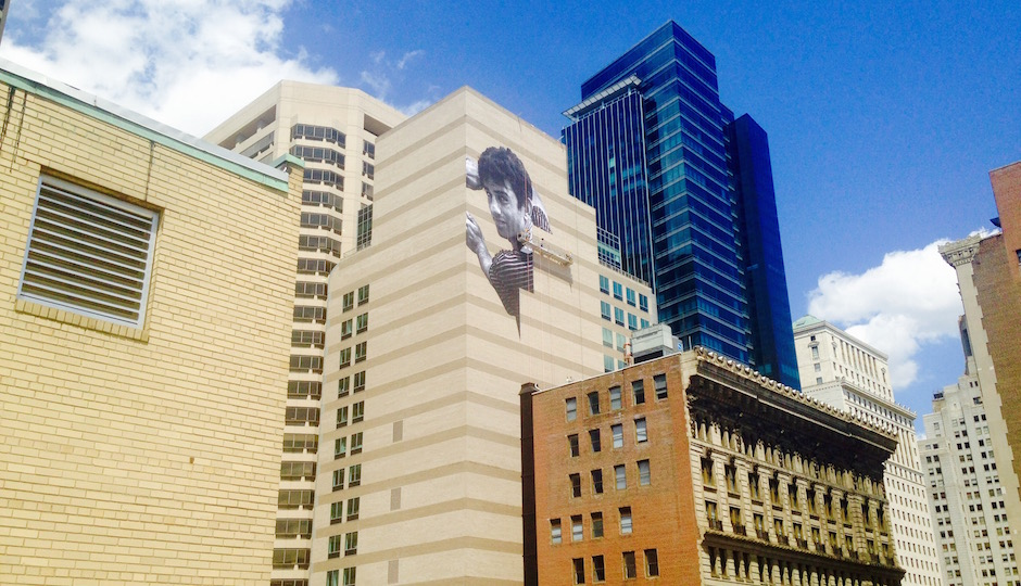 View of the mural from the roof of 1530 Chestnut Street.