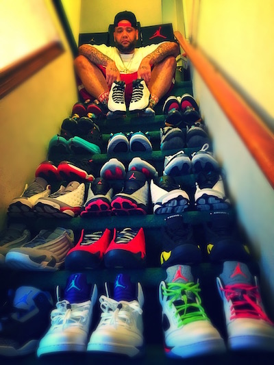Roper with some of his sneaker collection. He says he's amassed nearly a hundred pairs in the last ten years.