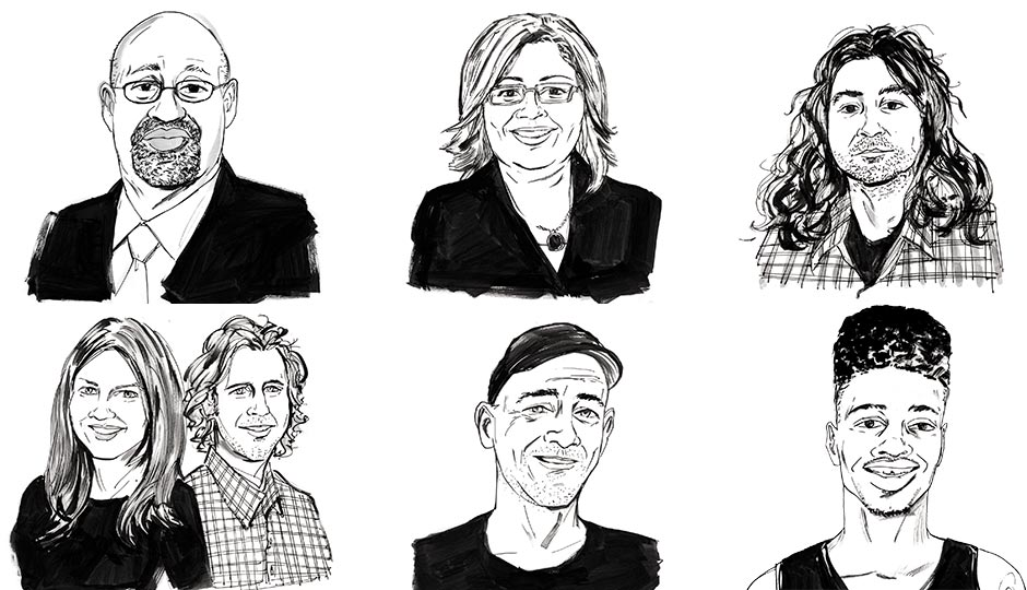 Clockwise from upper left: Mayor Michael Nutter, Maria Quiñones-Sánchez, Adam Granduciel of the band War on Drugs, Nerlens Noel, Todd Carmichael, Courtney and Chad Ludeman. Illustrations by Brett Affrunti