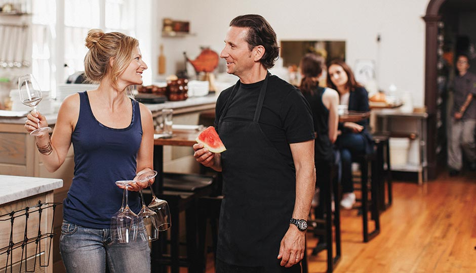 Kate Jacoby, co-owner, manager and pastry chef of Vedge and V Street, with her husband, Rich Landau, at Vedge. Photograph by Gene Smirnov