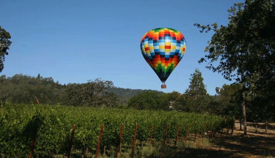 It doesn't get more romantic than a hot air balloon trip over Napa.
