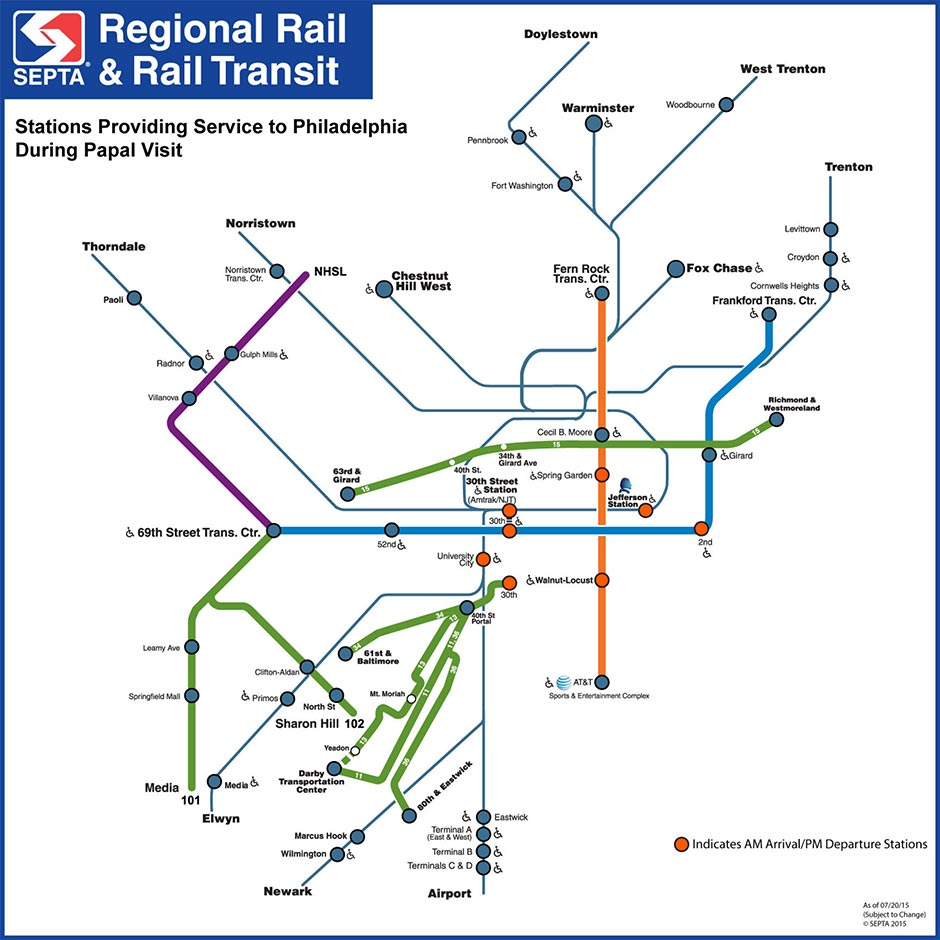 SEPTA Pope Map, updated 7/20/2015