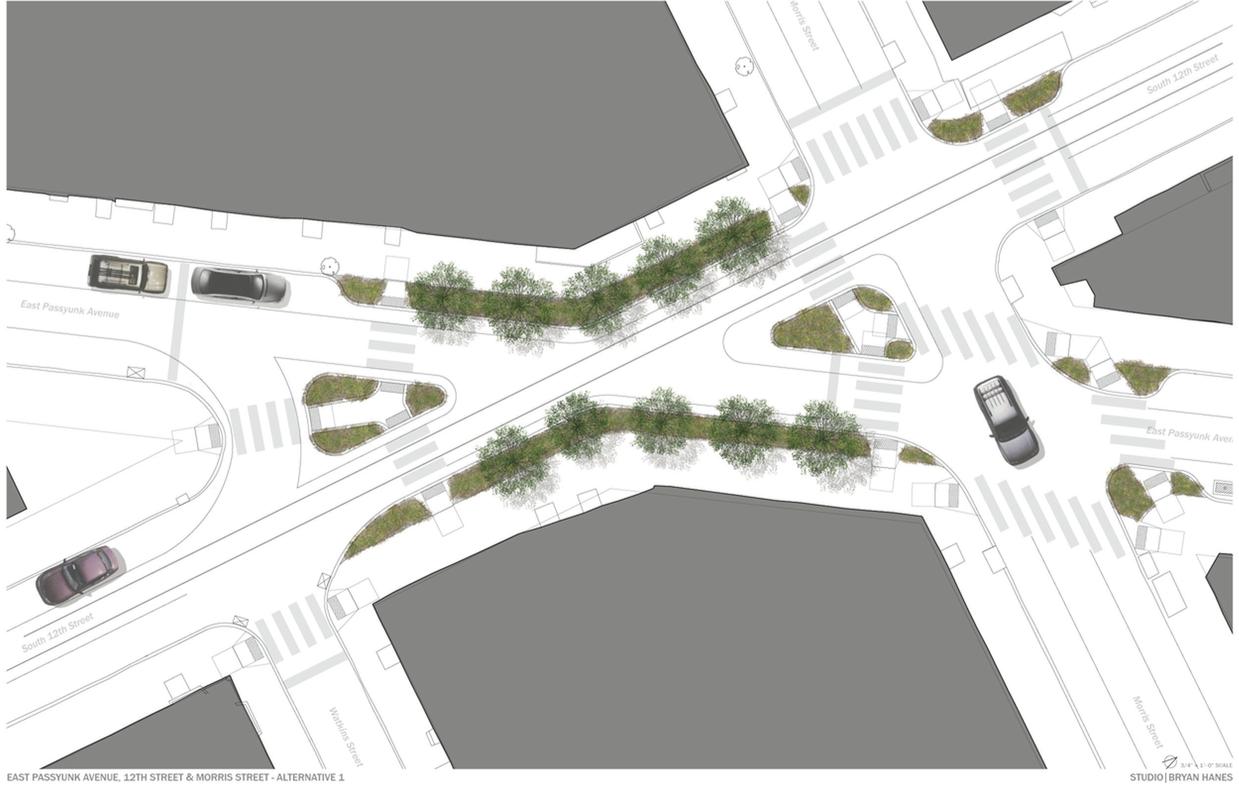 Alternative 1 design   Image courtesy of Passyunk Avenue Revitalization Corporation