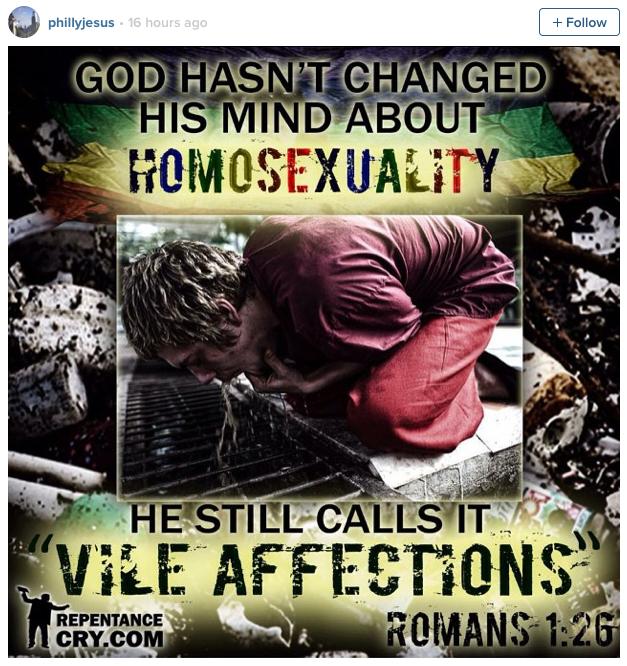 Philly jesus homophobic post
