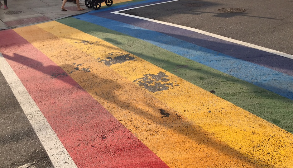 Picture of one of the rainbow crosswalks as of this morning, 7/1/15.