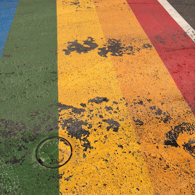 A picture of the rainbow crosswalks as of 7/1/15.