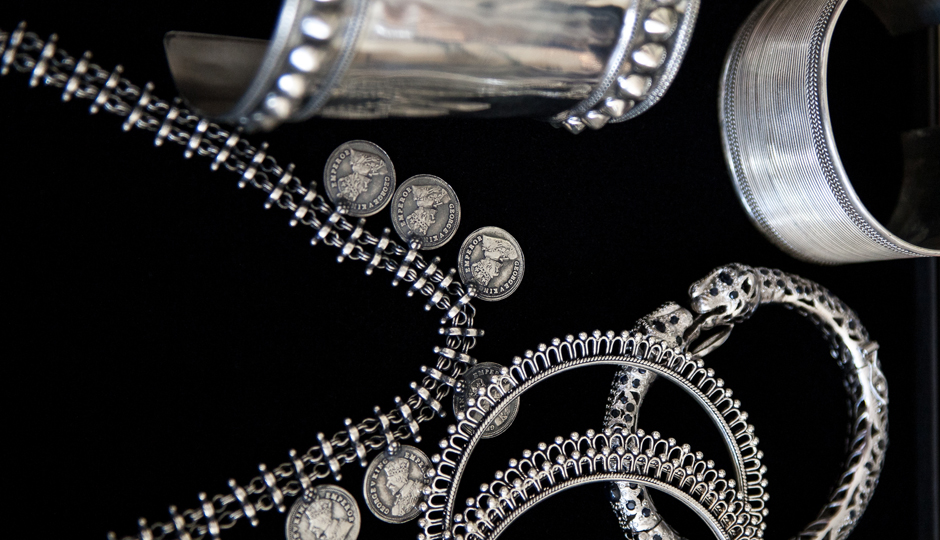 Silver-on-black
