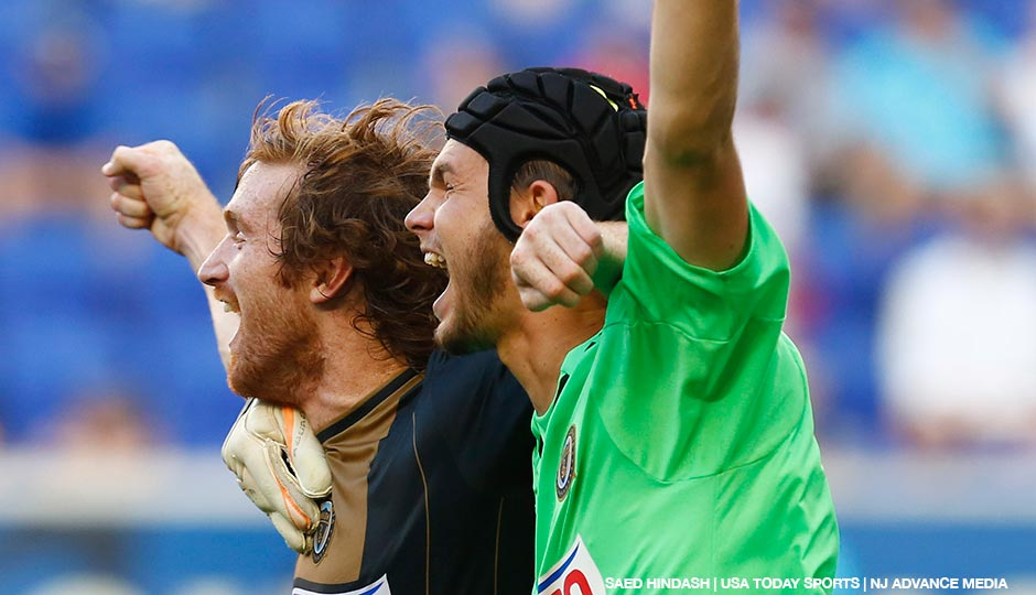 Philadelphia Union forward Fernando Aristeguieta (left) and goalkeeper John McCarthy (right) celebrate Aristeguieta's game winning goal to end the penalty kicks against NY Red Bulls during a quarterfinal match of the US Open Cup at Red Bull Arena.