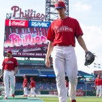 Jul 20, 2015; Philadelphia, PA, USA; Philadelphia Phillies starting pitcher Aaron Nola (27) before a game against the Tampa Bay Rays at Citizens Bank Park. Mandatory Credit: Bill Streicher-USA TODAY Sports