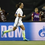 United States midfielder Carli Lloyd (10) reacts after scoring against Germany on a penalty kick during the second half of the semifinals of the FIFA 2015 Women's World Cup at Olympic Stadium. Michael Chow-USA TODAY Sports