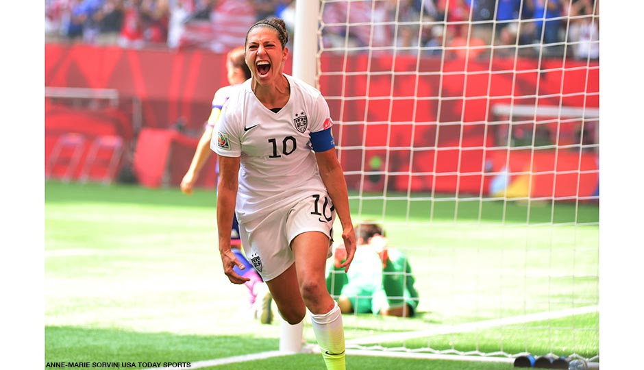 Jul 5, 2015; Vancouver, British Columbia, CAN; United States midfielder Carli Lloyd (10) reacts after scoring a goal against Japan in the first half of the final of the FIFA 2015 Women's World Cup at BC Place Stadium.