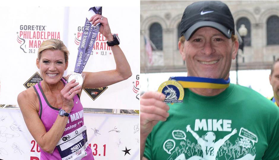 Cecily Tynan after last year's Rothman 8K finish | Photo via Facebook. Mike Rossi at the Boston Marathon