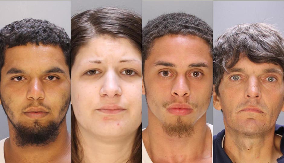 From left, drug-dealing suspects Alexis Salamon, Gina Collette, Alfredo Negron, and David Nowicki were among last week's arrests. Photos via Philadelphia Police Department photos