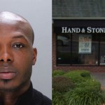 Left: Former massage therapist Jerome McNeill in 2014 Philadelphia Police department photo. Right: The Hand & Stone spa in Haverford (via Google Maps.)
