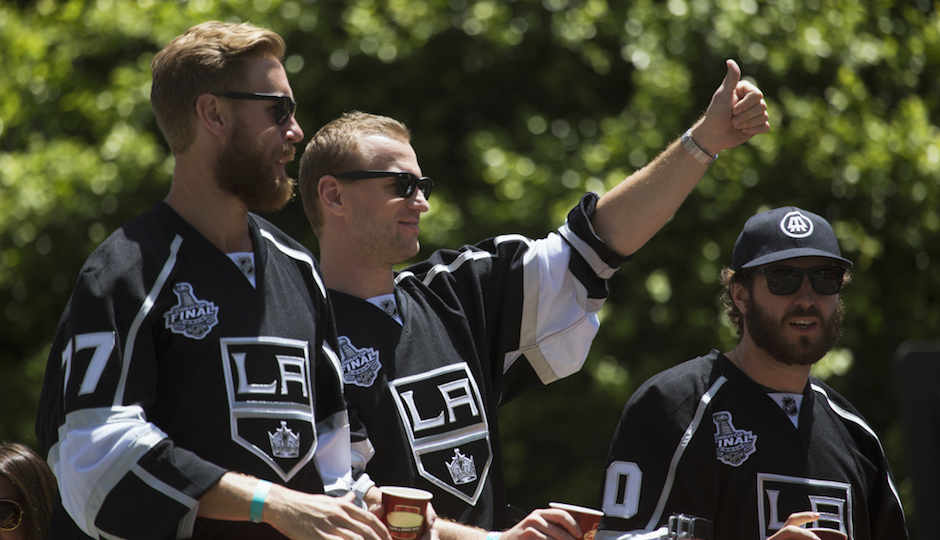Marian Gaborik, Mike Richards and Jeff Carter at LA Kings 2014 Stanley Cup Victory Parade. Joseph Sohm / Shutterstock.com