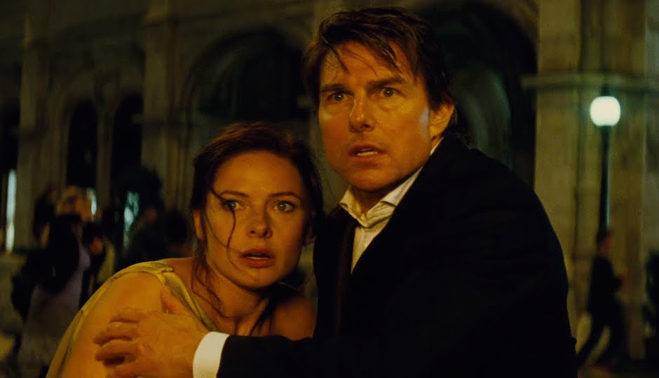 Rebecca Ferguson and Tom Cruise in Mission: Impossible—Rogue Nation.