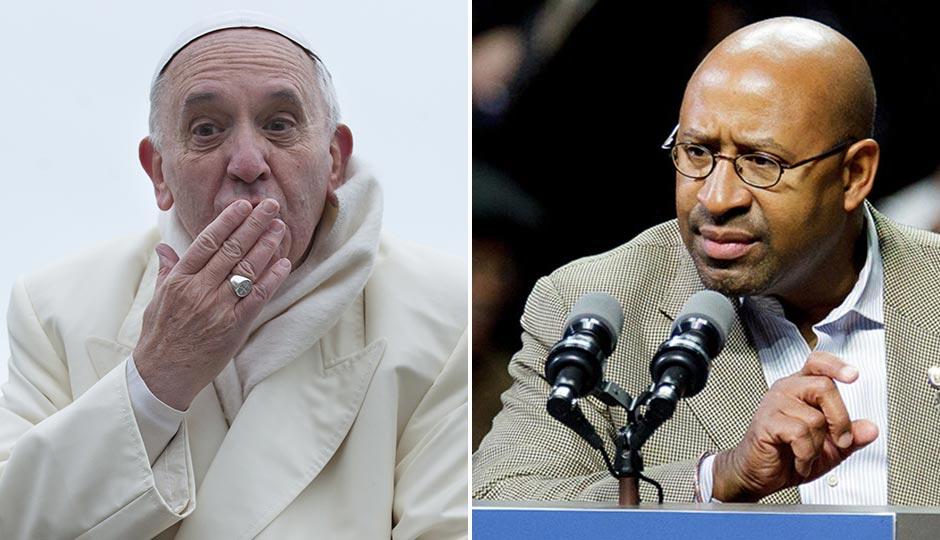 Pope Francis | neneo / Shutterstock.com.  Mayor Nutter | Jeff Fusco