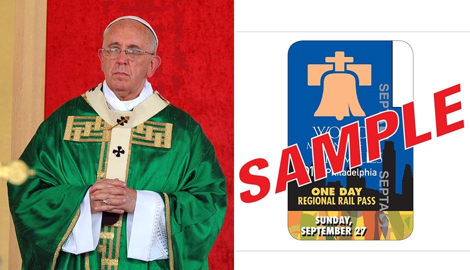 Pope Francis, miqu77 / Shutterstock.com. Pope Pass sample, via SEPTA.