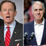 Pat Toomey, left; Bob Casey Jr., right.
